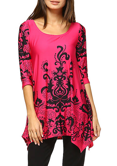 Yanette 3/4 Sleeve Printed Tunic