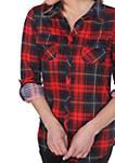 Oakley Stretchy Plaid Roll Cuff Top