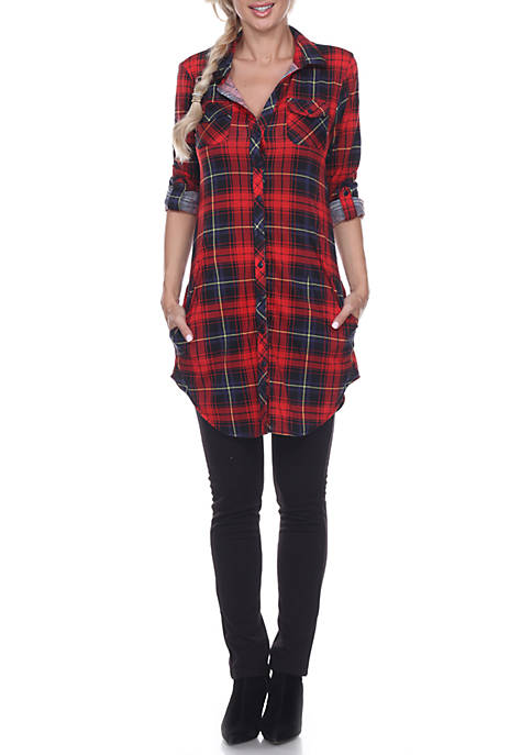 White Mark Piper Stretchy Plaid Roll Cuff Tunic