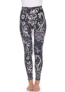 White Mark One Size Fits Most Printed Leggings
