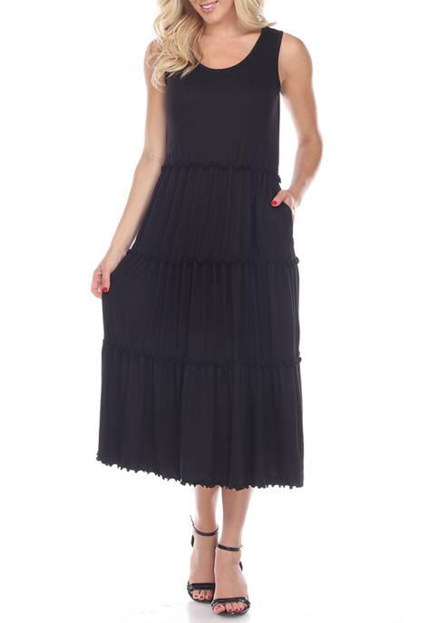 Womens Scoop Neck Tiered Midi Dress