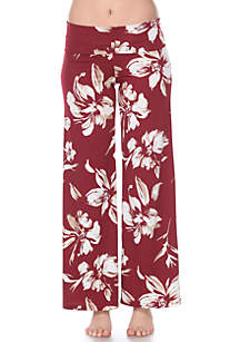 White Mark Flower Floral Print Palazzo Pants