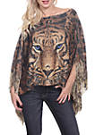 Leopard Print Poncho with Fringe