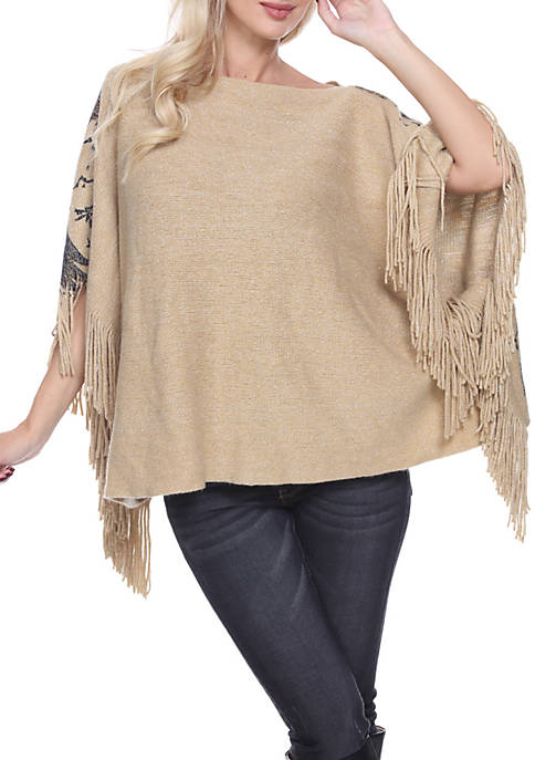White Mark Eagles Wings Print Poncho with Fringe