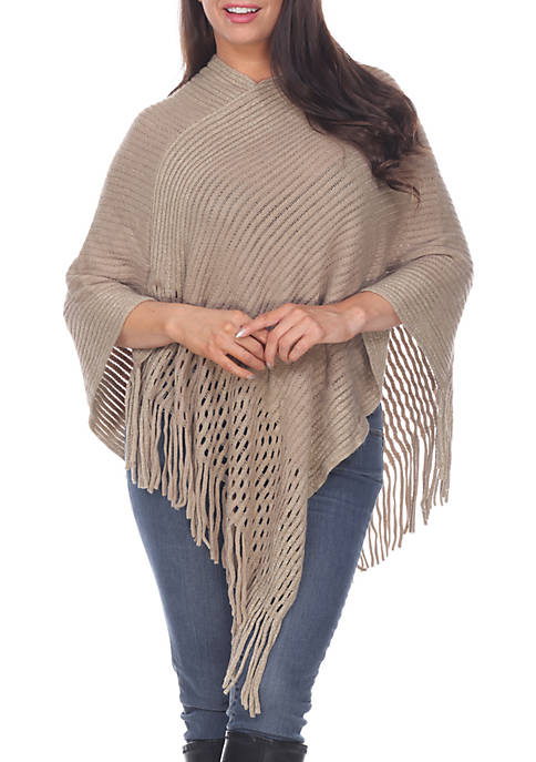 Poncho Sweater with Fringe