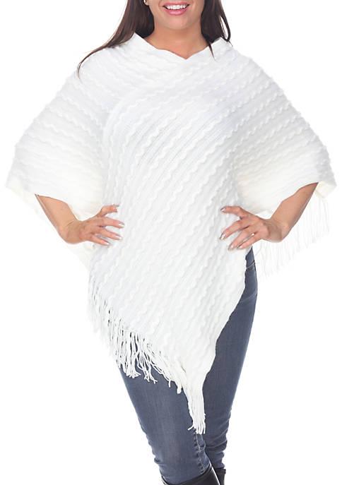 White Mark Melisandre Fringe Poncho Sweater