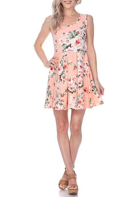 White Mark Crystal Flower Print Dress