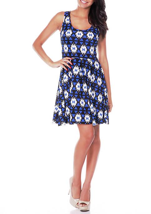White Mark Crystal Geometric Print Dress