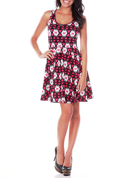 Crystal Geometric Print Dress