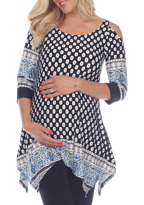 White Mark Maternity Cold Shoulder Tunic