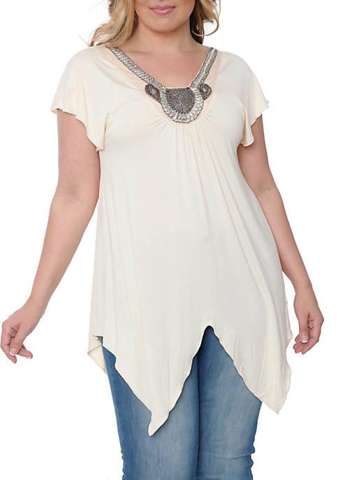 White Mark Plus Size Fenella Short Sleeve Tunic