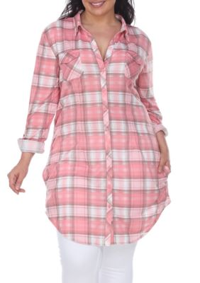 White Mark Womens Plus Size Piper Stretchy Plaid Tunic