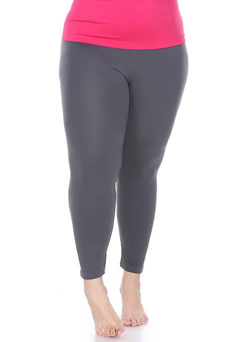 Womens Plus Size Super-Stretch Solid Leggings