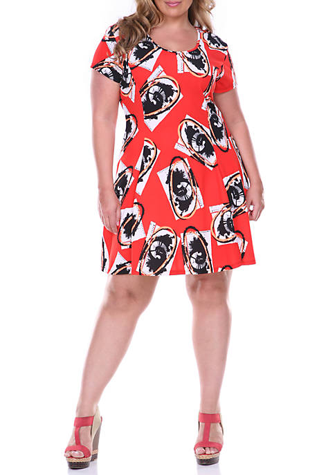 White Mark Plus Size Fit and Flare Dress
