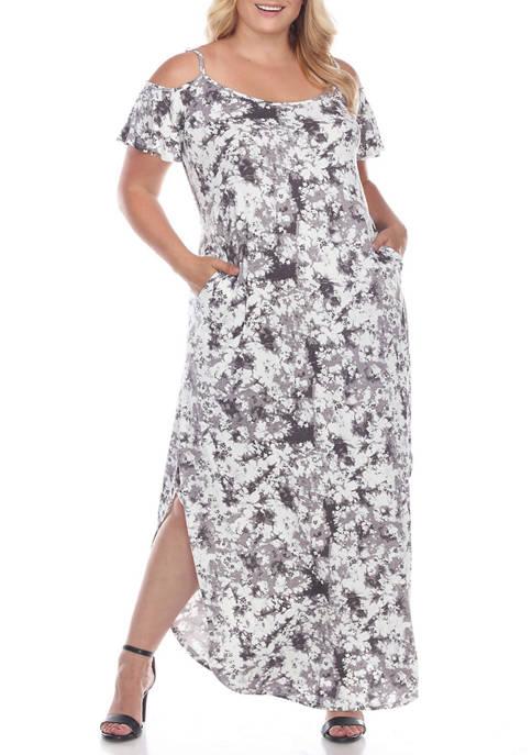 Plus Size Cold Shoulder Tie-Dye Maxi Dress