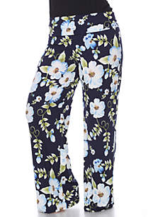 White Mark Plus Size Flower Floral Print Palazzo Pants