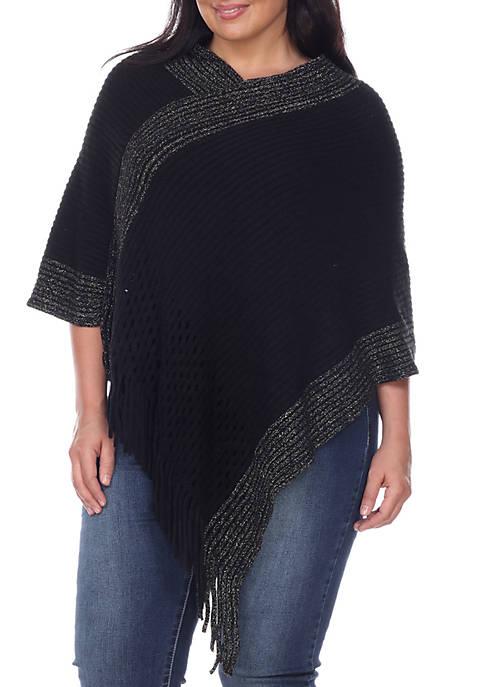 Plus Size Poncho Sweater with Fringe