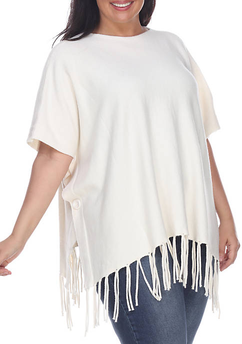 Plus Size Fringe Poncho with Side Buttons