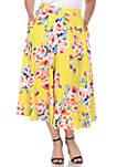 Plus Floral Midi Skirt