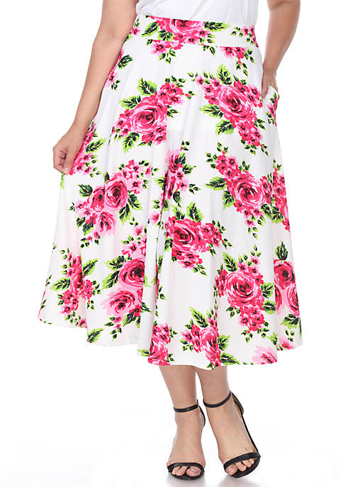 Plus Flower Midi Skirt
