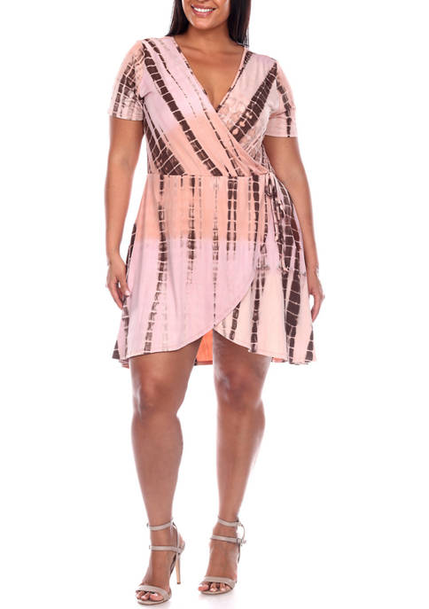 Plus Size Tie Dye Wrap Dress