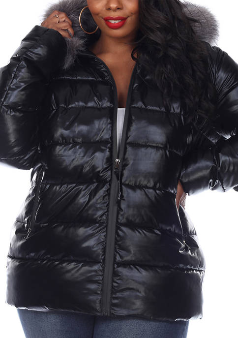 Plus Size Metallic Puffer Coat