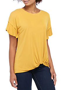 983597426921ac ... Kaari Blue™ Flutter Sleeve Cupro Knot Front T Shirt