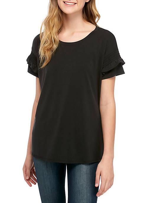 Kaari Blue™ Smocked Ruffle Sleeve T Shirt