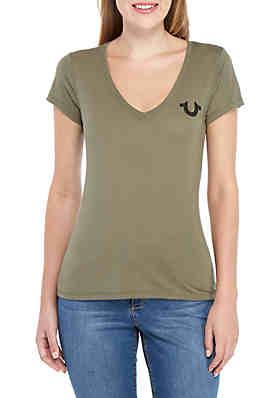 35730b0b6 True Religion Left Chest Rhinestone Horseshoe T Shirt ...