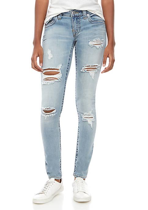 Skinny Flap Heavy Destroyed Denim Jeans