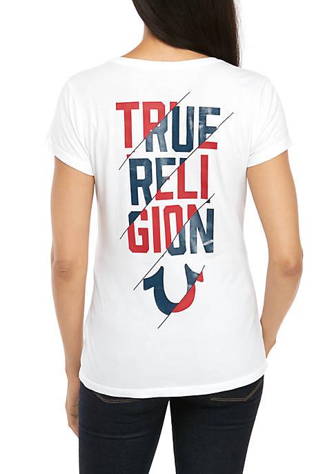 Slash Graphic Deep V-Neck T-Shirt