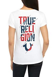 True Religion Slash Graphic Deep V-Neck T-Shirt
