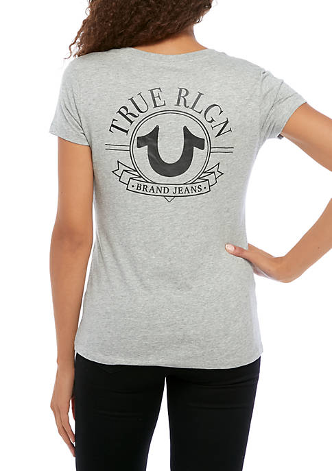 Womens Big Horseshoe V Neck T-Shirt
