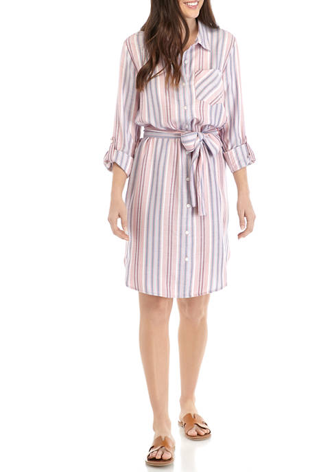 Womens Long Sleeve Stripe Shirt Dress