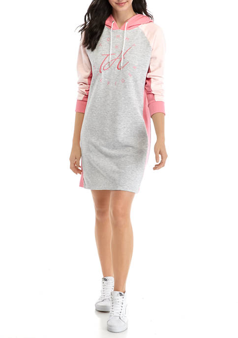 Womens Pink Graphic Hoodie Dress