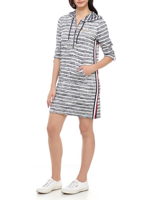Womens Striped Hoodie Dress