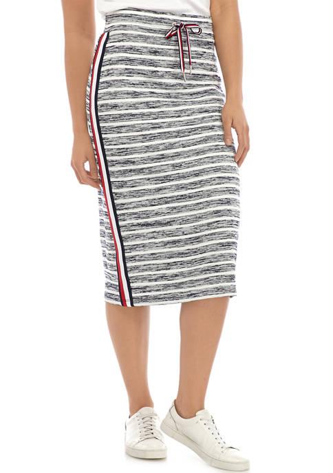 Womens Stripe Knit Midi Skirt