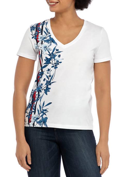 Womens Short Sleeve V Neck Printed Shirt