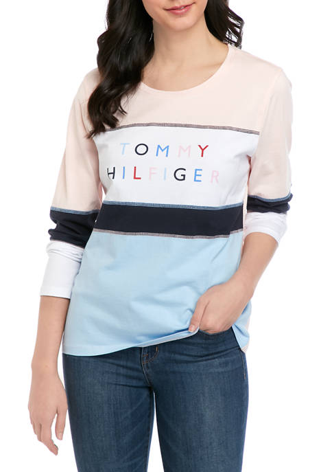 Womens Long Sleeve Color Block Logo Graphic T-Shirt