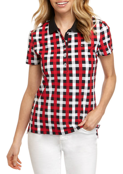 Tommy Hilfiger Womens Plaid 5-Button Polo Shirt