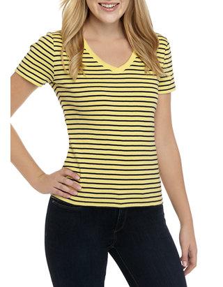 Tommy Hilfiger Womens Short Sleeve V-Neck Flag T-Shirt
