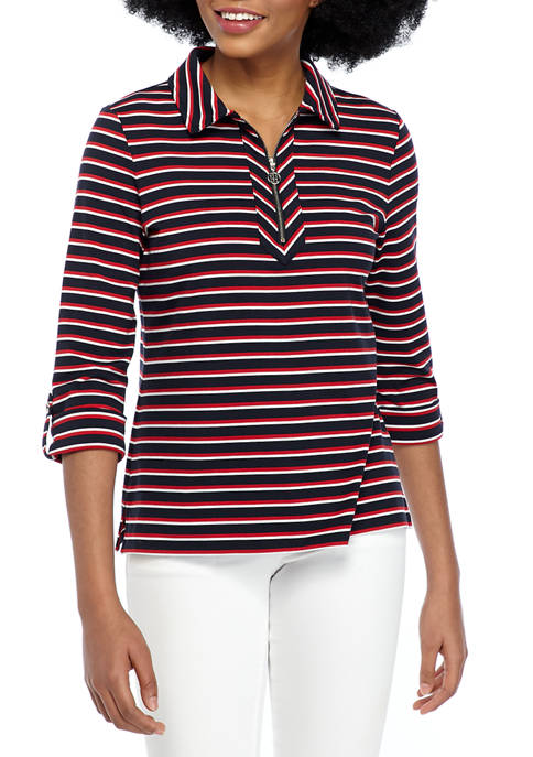 Womens Half Zip Stripe Top