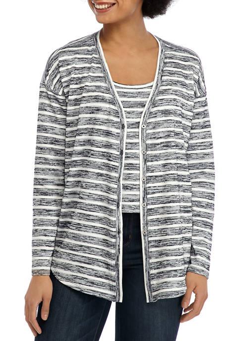 Womens Stripe Knit Cardigan