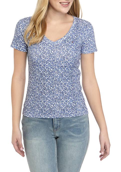 Womens Short Sleeve Flag Floral T-Shirt