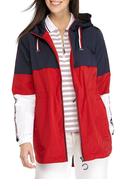 Womens Color Block Jacket with Logo Tape
