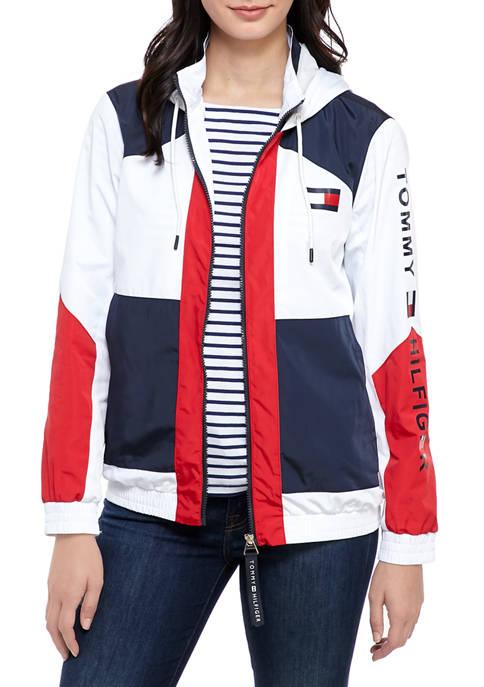 Womens Color Block Zip Hooded Jacket