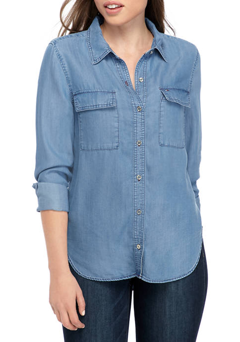 Tommy Hilfiger Womens Flap Pocket Shirt with Stitching