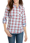 Womens Plaid Roll Tab Button Down Shirt
