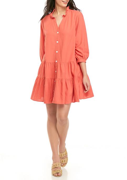 Womens Ruffle Neck Linen Dress