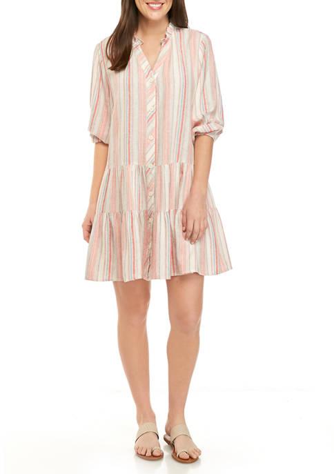 Womens Striped Linen Dress